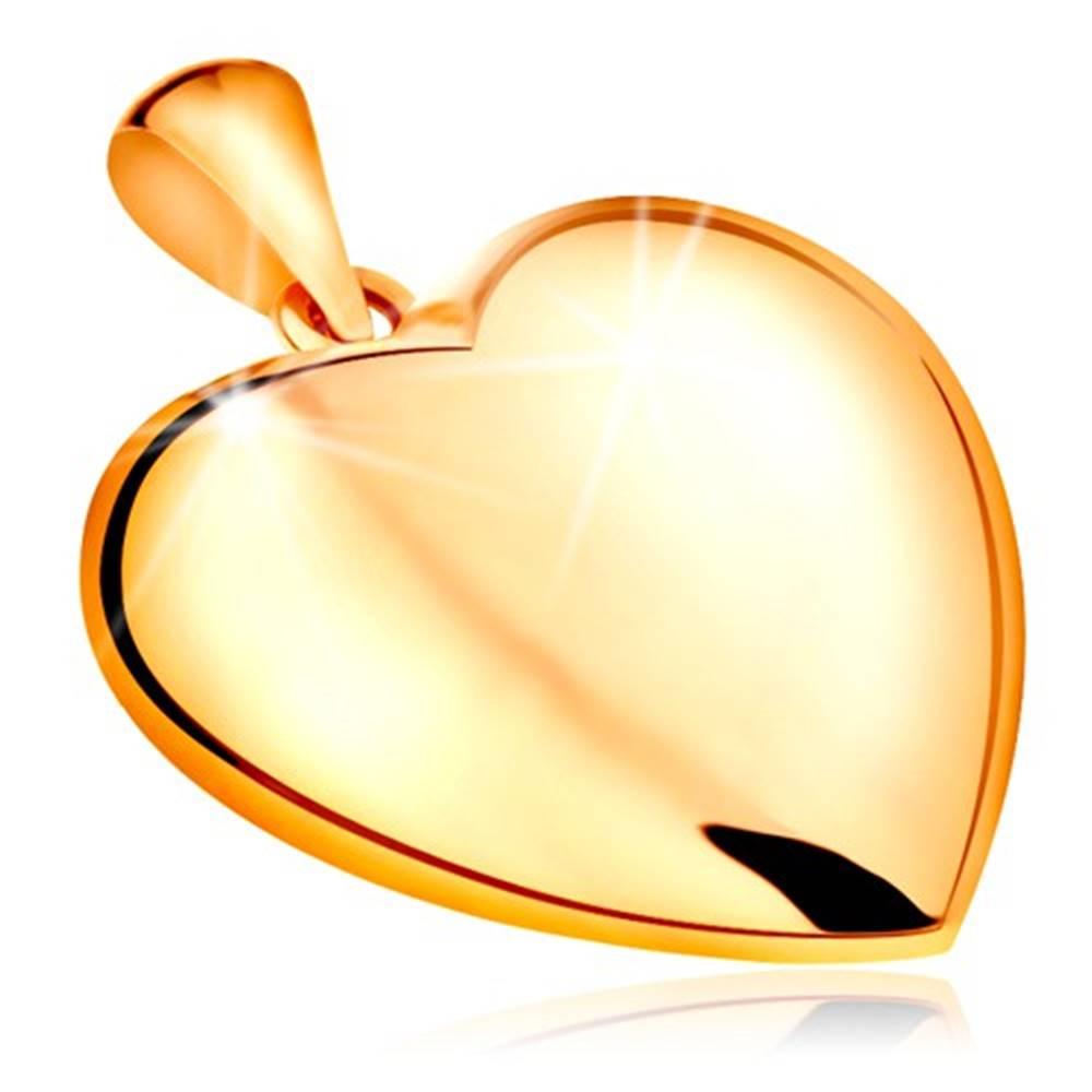 Šperky eshop Prívesok zo žltého 14K zlata - obojstranne vypuklé srdce, lesklý povrch