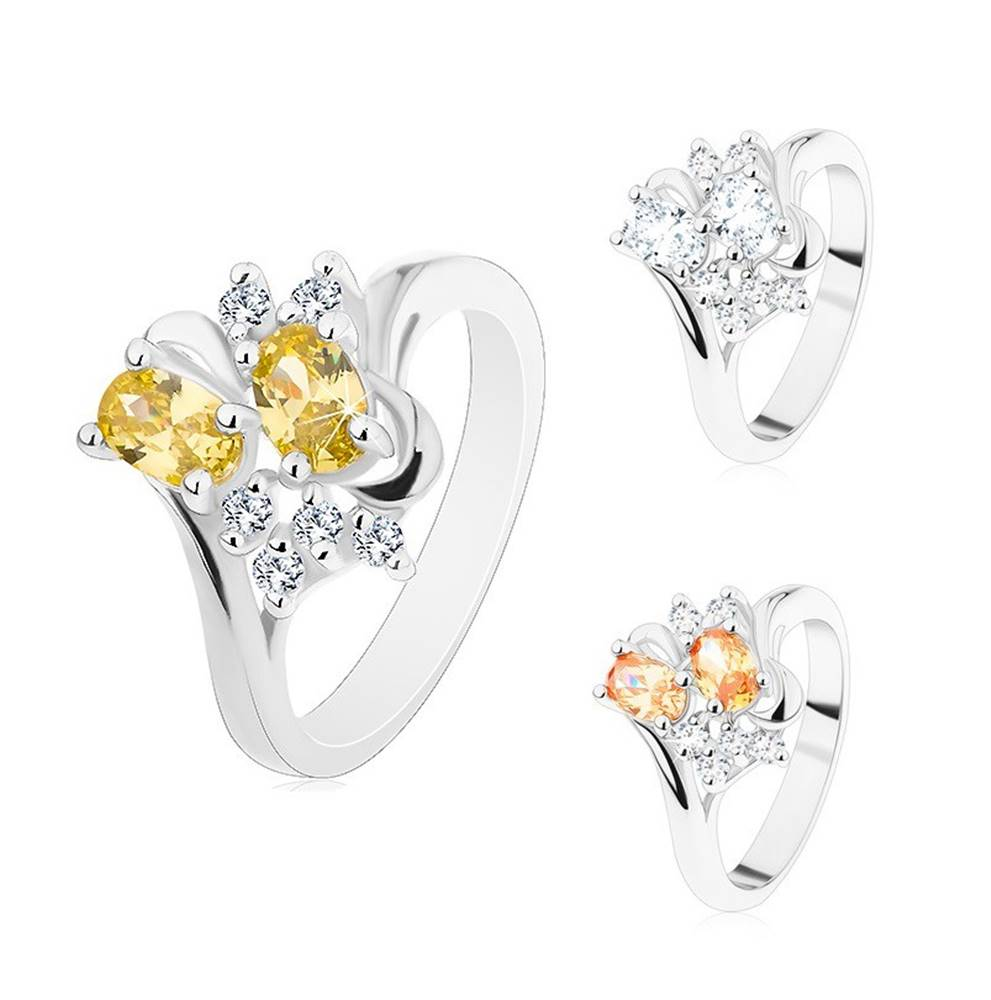 Šperky eshop Prsteň v striebornom odtieni, dva brúsené ovály a číre zirkóniky - Veľkosť: 56 mm, Farba: Oranžová