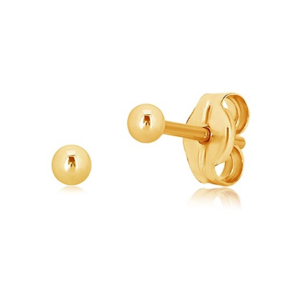 Šperky eshop Puzetové náušnice zo žltého zlata 375 - drobná gulička, hladký a lesklý povrch, 2 mm
