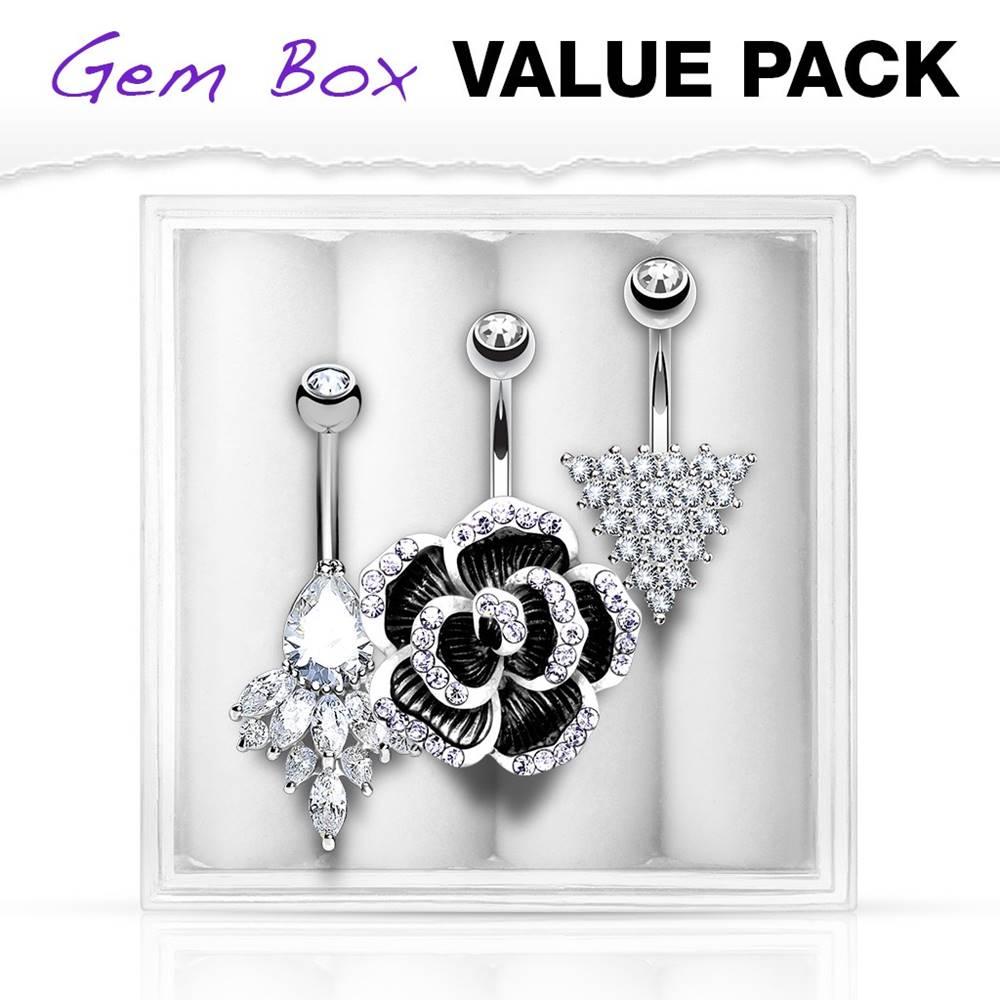 Šperky eshop Sada troch oceľových piercingov do pupku - kvet, trojuholník, ornament