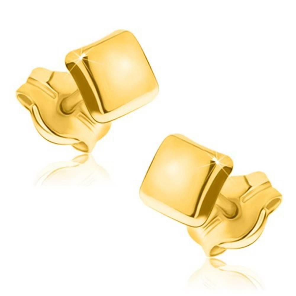 Šperky eshop Zlaté náušnice 375 - jednoduchý štvorec so zrkadlovolesklým povrchom