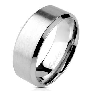 Oceľový prsteň striebornej farby - matný pásik uprostred, lesklé línie po okrajoch, 4 mm - Veľkosť: 49 mm