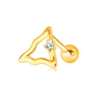 Zlatý 14K piercing do brady a pery - zvlnená kontúra trojuholníka s čírym zirkónom