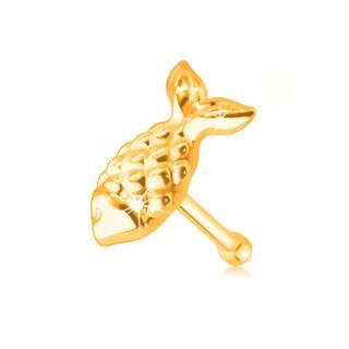 Zlatý 14K piercing do nosa - rybka so šupinkami a chvostom