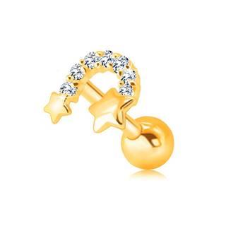 Zlatý 375 piercing do brady a pery - dve hviezdičky spojené zirkónovým oblúkom