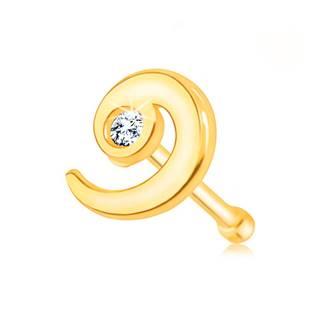 Zlatý 585 piercing do nosa - lesklá špirála zdobená čírym zirkónom