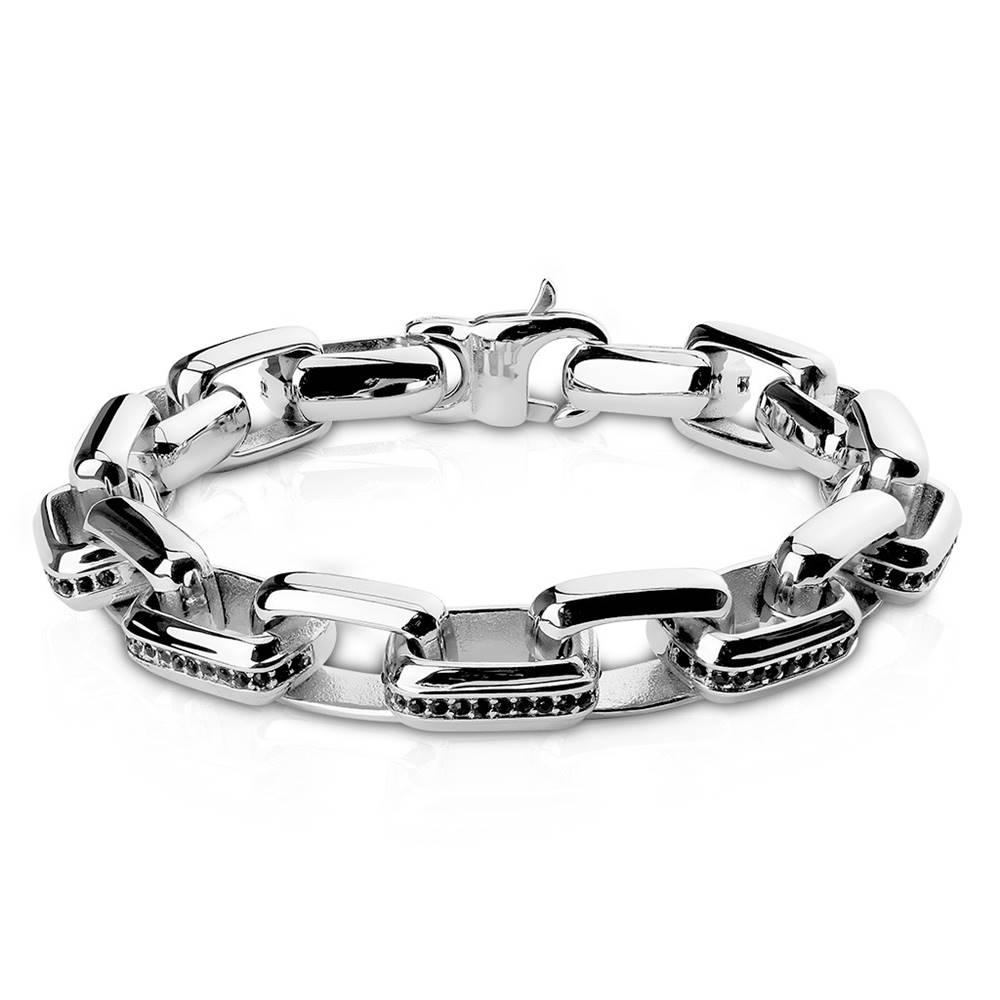 Šperky eshop Náramok z ocele v striebornom odtieni - obdĺžnikové články zdobené zirkónikmi čiernej farby