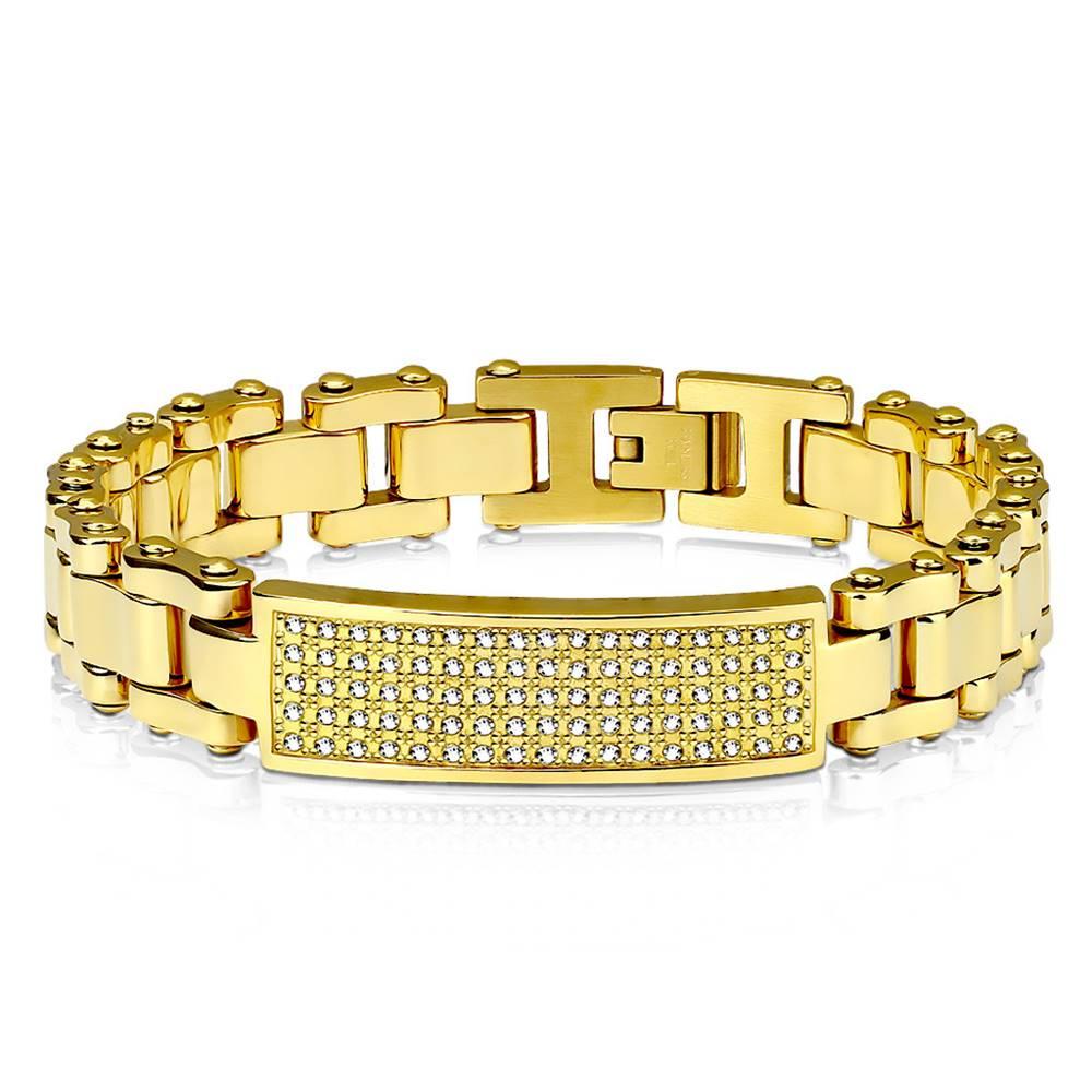 Šperky eshop Náramok z ocele v zlatej farbe - platnička vykladaná čírymi zirkónikmi