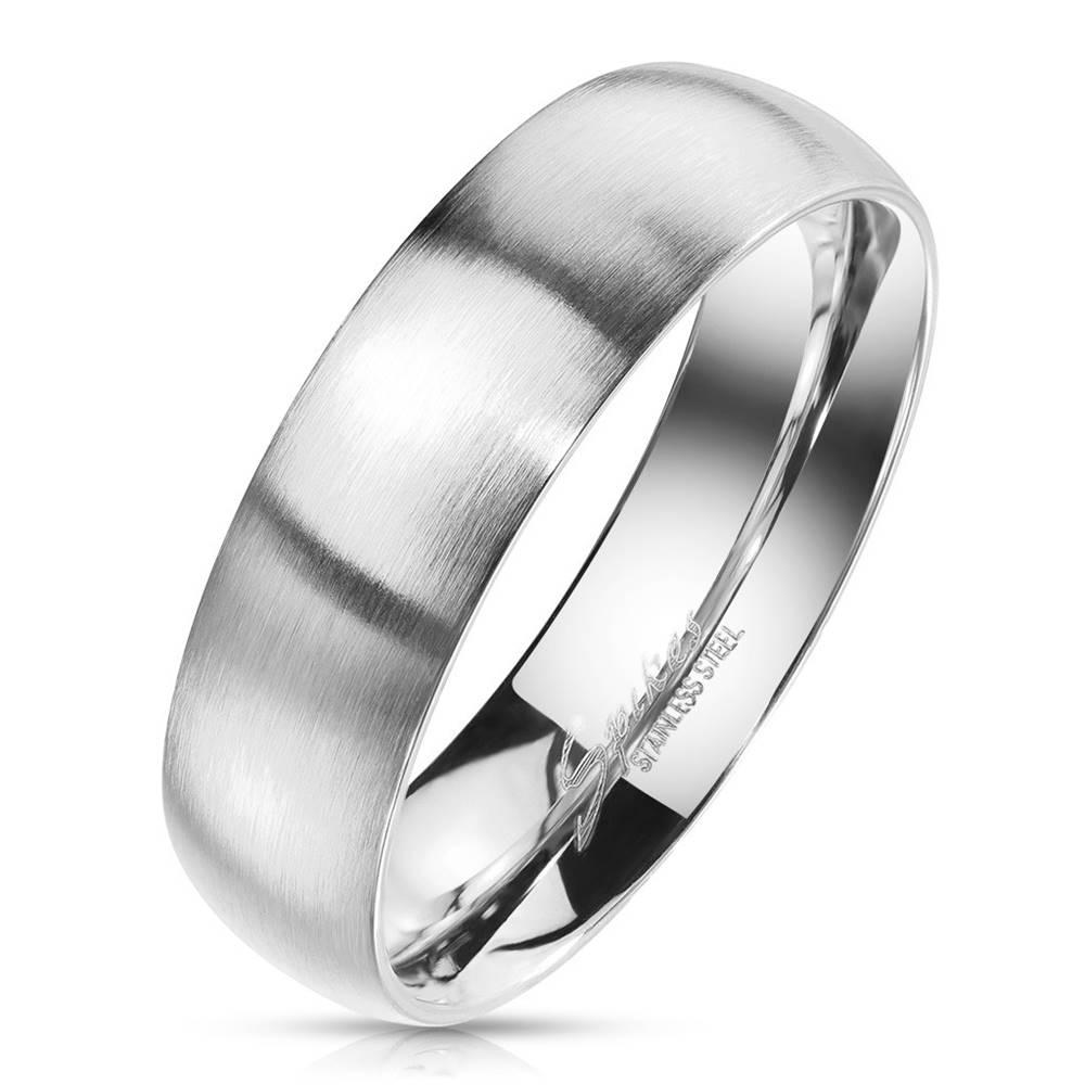 Šperky eshop Obrúčka z ocele v striebornom odtieni - matný povrch, 8 mm - Veľkosť: 59 mm