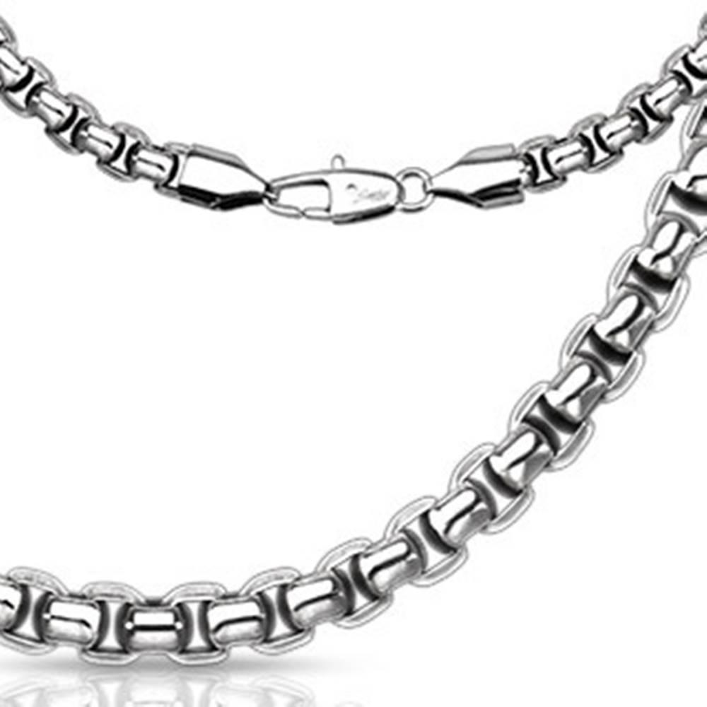 Šperky eshop Oceľová hranatá retiazka - širšie oválne očká husto prepletené - Hrúbka: 3 mm