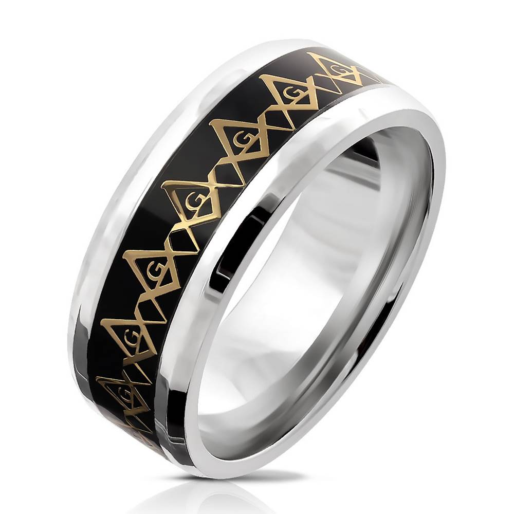 Šperky eshop Oceľová obrúčka - symbol Slobodomurárov v zlatej farbe, priesvitná glazúra, 8 mm - Veľkosť: 59 mm