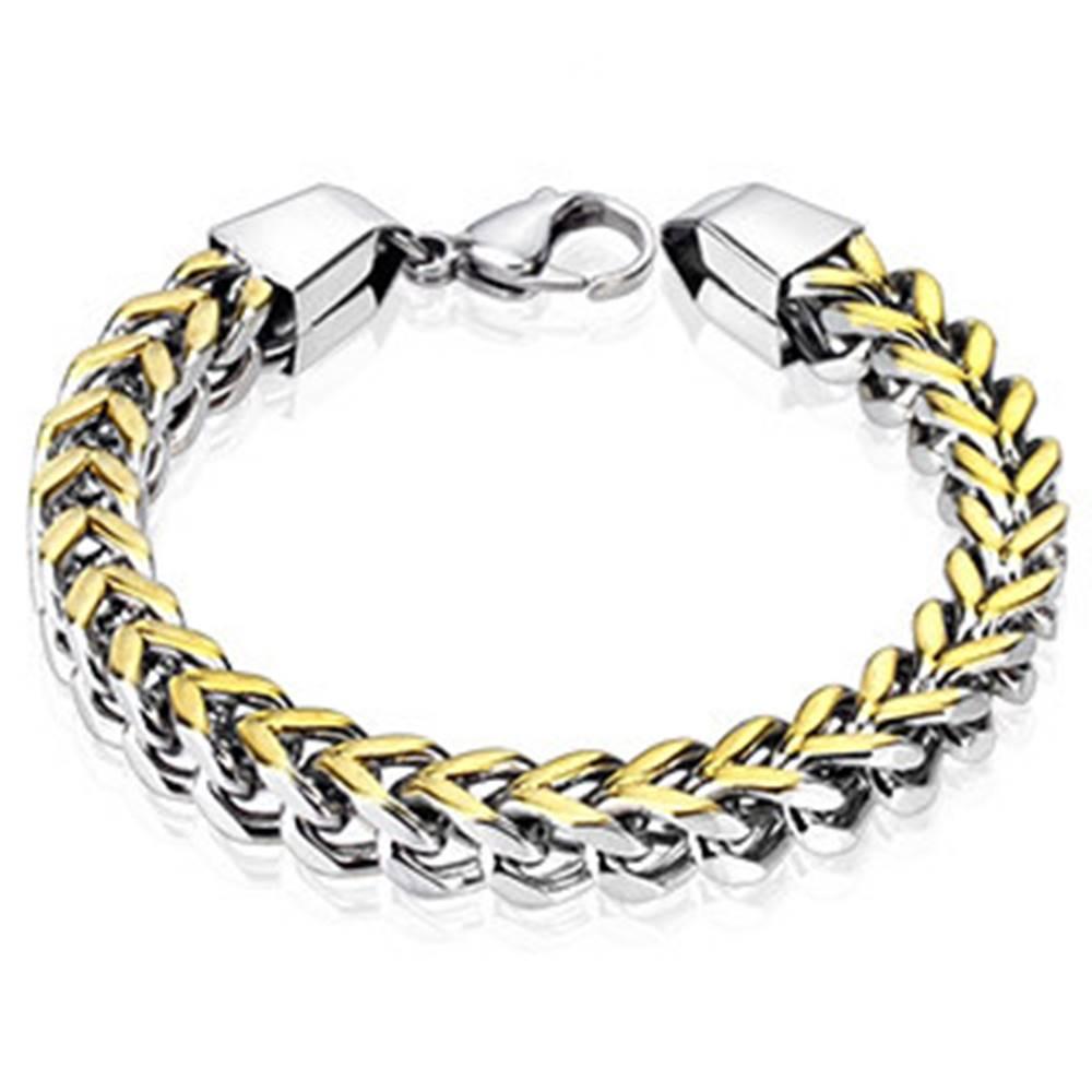 Šperky eshop Oceľový náramok na ruku v strieborno-zlatom odtieni - hranato skosené očká, tvar vrkoča