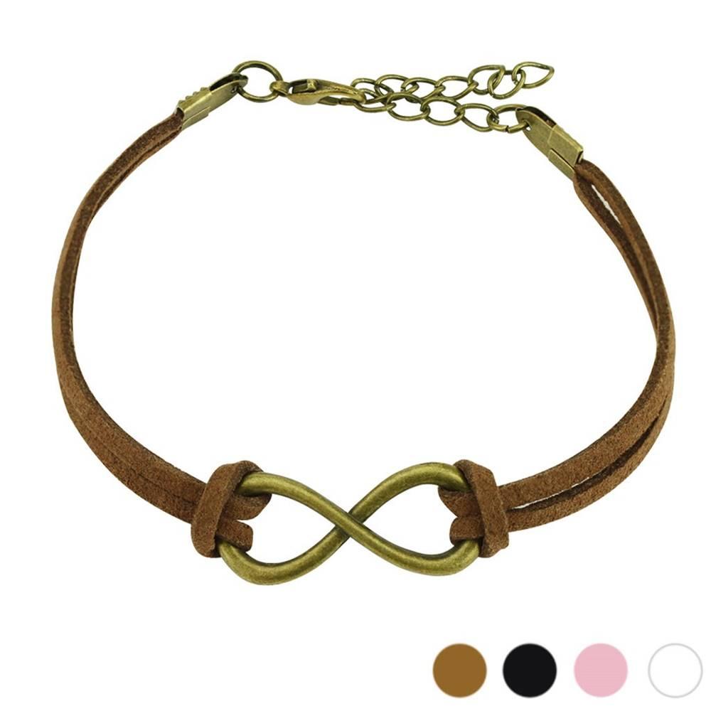 """Šperky eshop Oceľový náramok s koženkou - lesklý symbol """"INFINITY""""  - Farba: Biela"""