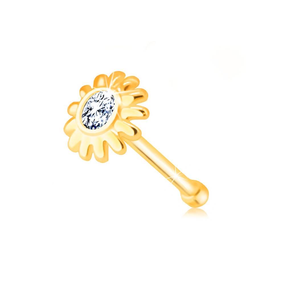 Šperky eshop Piercing do nosa zo zlata 585 - kvietok s čírym zirkónikom v strede