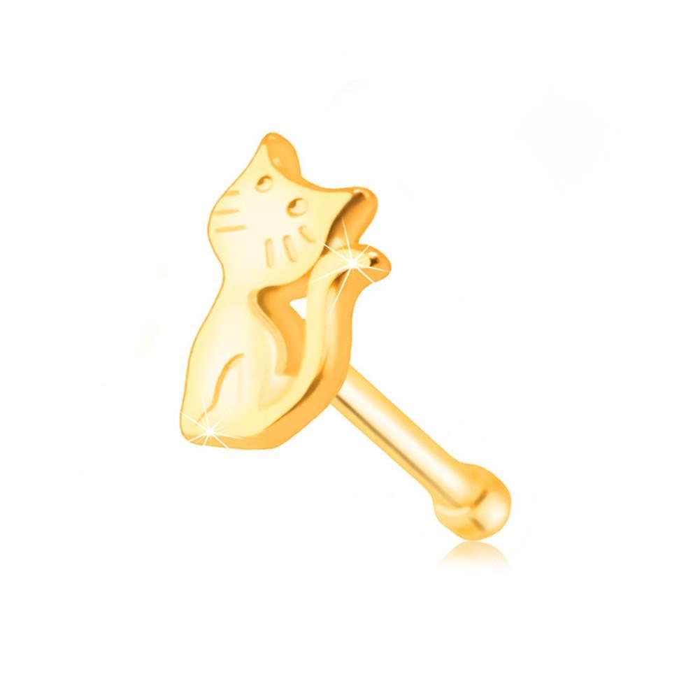 Šperky eshop Piercing do nosa zo žltého zlata 585 - mačička so zdvihnutým chvostíkom
