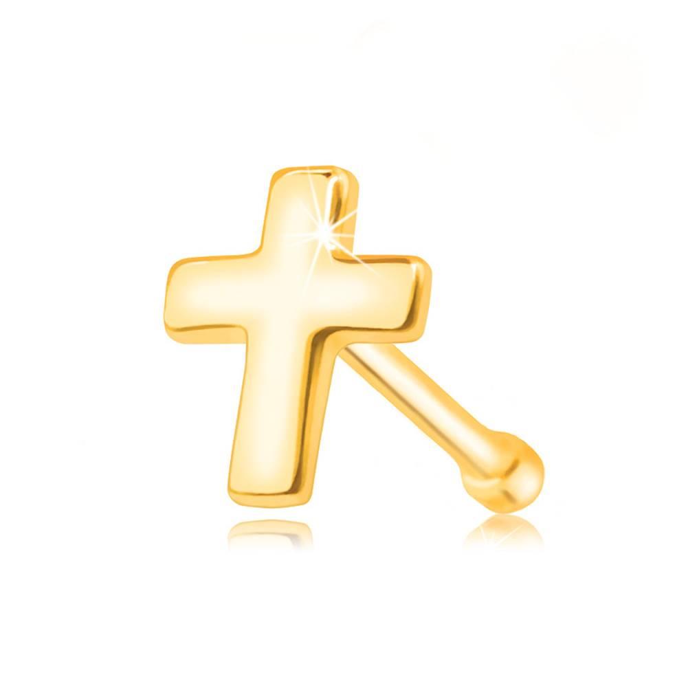 Šperky eshop Piercing do nosa zo žltého zlata 585 - plochý lesklý krížik