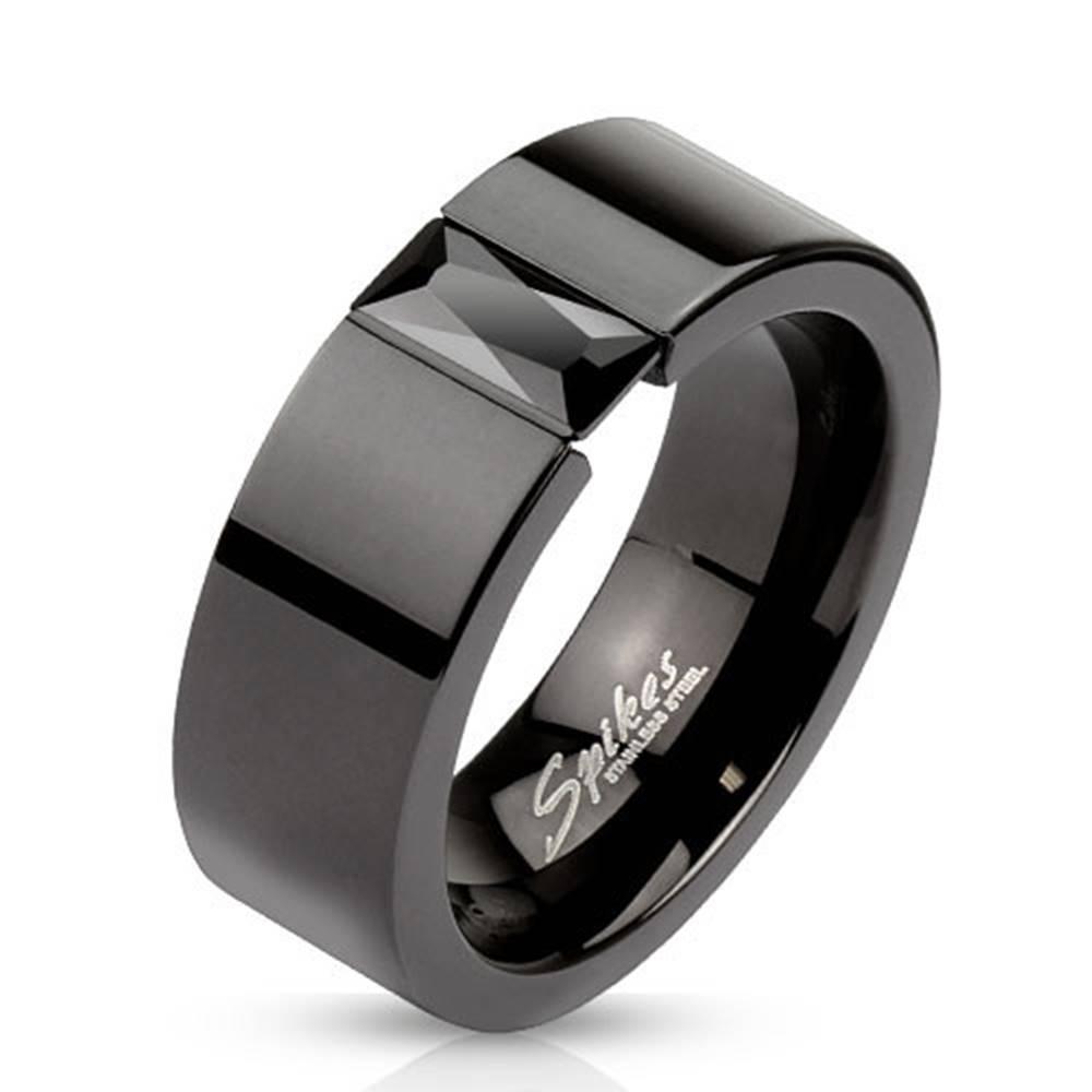 Šperky eshop Prsteň z ocele v čiernej farbe - ligotavý čierny zirkón, 8 mm - Veľkosť: 60 mm