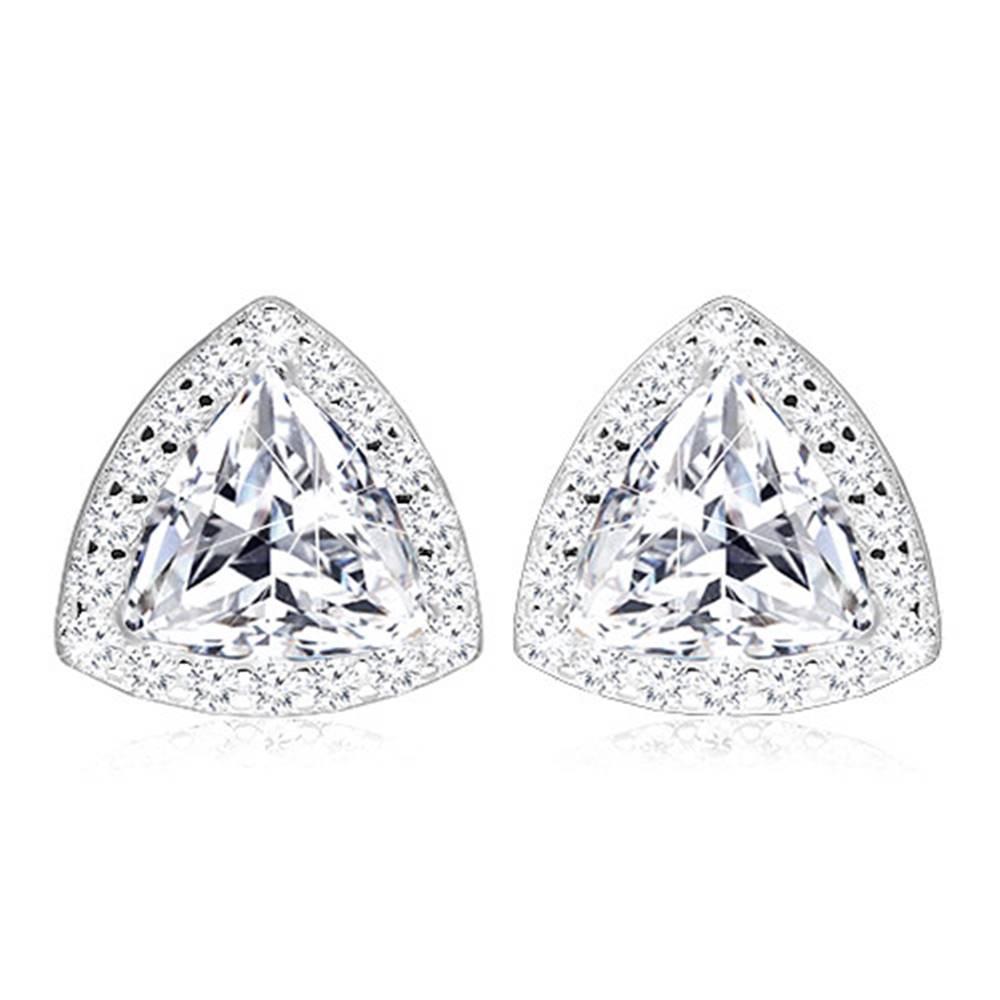 Šperky eshop Strieborné 925 náušnice - ligotavý zirkón zdobený trojuholníkovým lemom