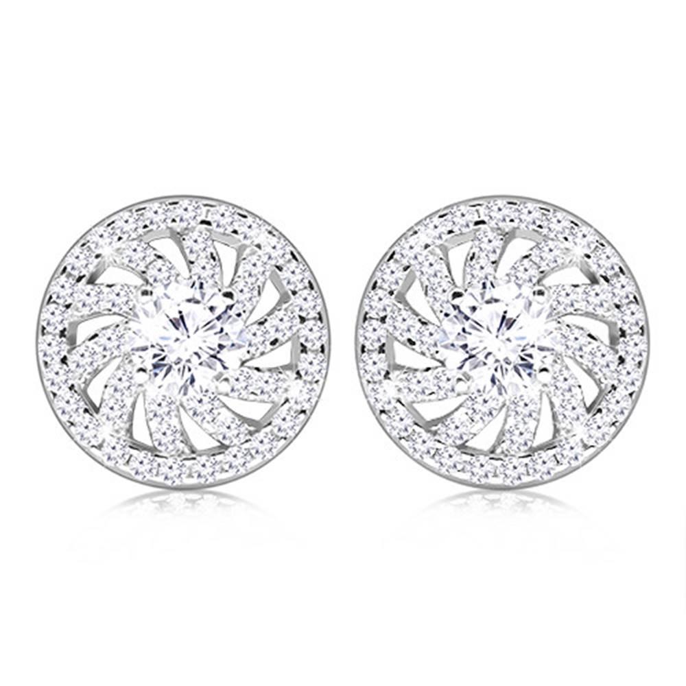Šperky eshop Strieborné 925 puzetové náušnice - kontúra okrúhleho kvetu s čírym zirkónom v strede