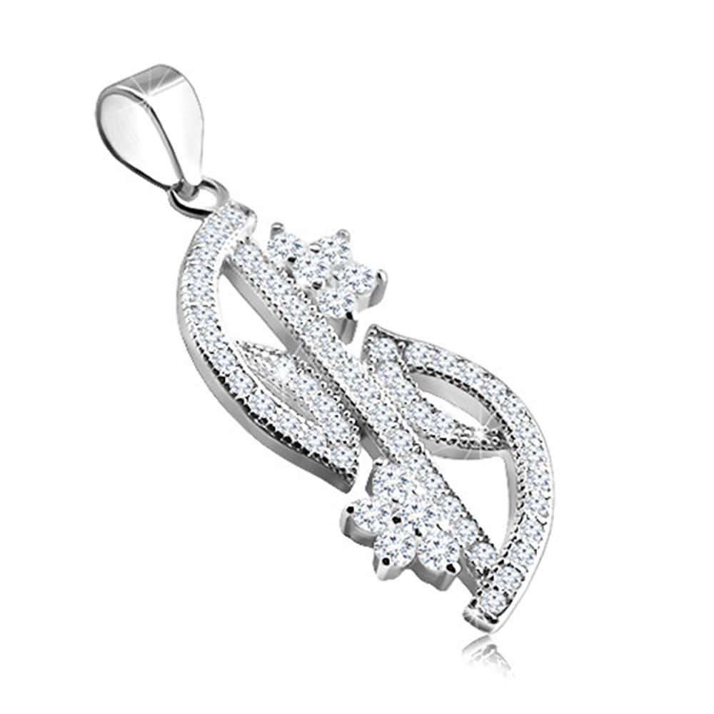 Šperky eshop Strieborný prívesok 925 - zirkónová línia v podobe listov, dva ligotavé kvietky