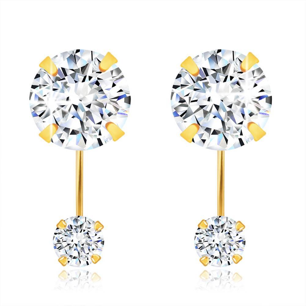 Šperky eshop Zlaté 585 náušnice - ligotavý číry zirkón a okrúhly číry zirkónik na paličke