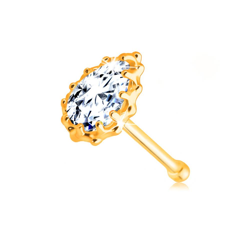 Šperky eshop Zlatý 14K piercing do nosa - číra zirkónová slzička lemovaná obrubou so zárezmi