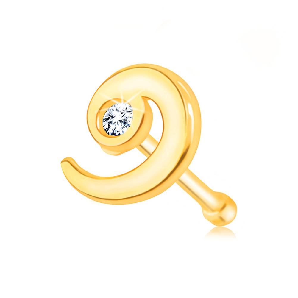 Šperky eshop Zlatý 585 piercing do nosa - lesklá špirála zdobená čírym zirkónom