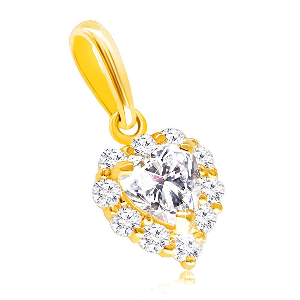 Šperky eshop Zlatý 585 prívesok - súmerné srdiečko zdobené čírymi zirkónmi