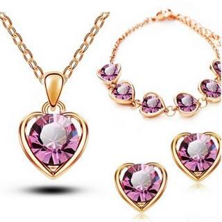 Set Love Heart - Zlatá/Ružová